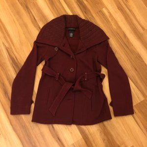 Sebby Collection Burgundy Pea Coat